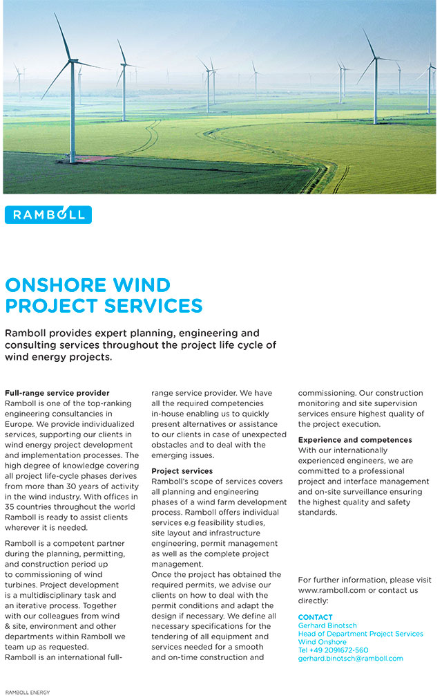 Ramboll provides expert planning, engineering and consulting services throughout the project life cycle of wind energy projects