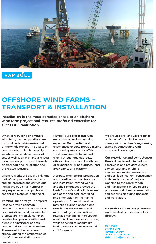 Installation is the most complex phase of an offshore wind farm project and requires profound expertise for successful realisation.