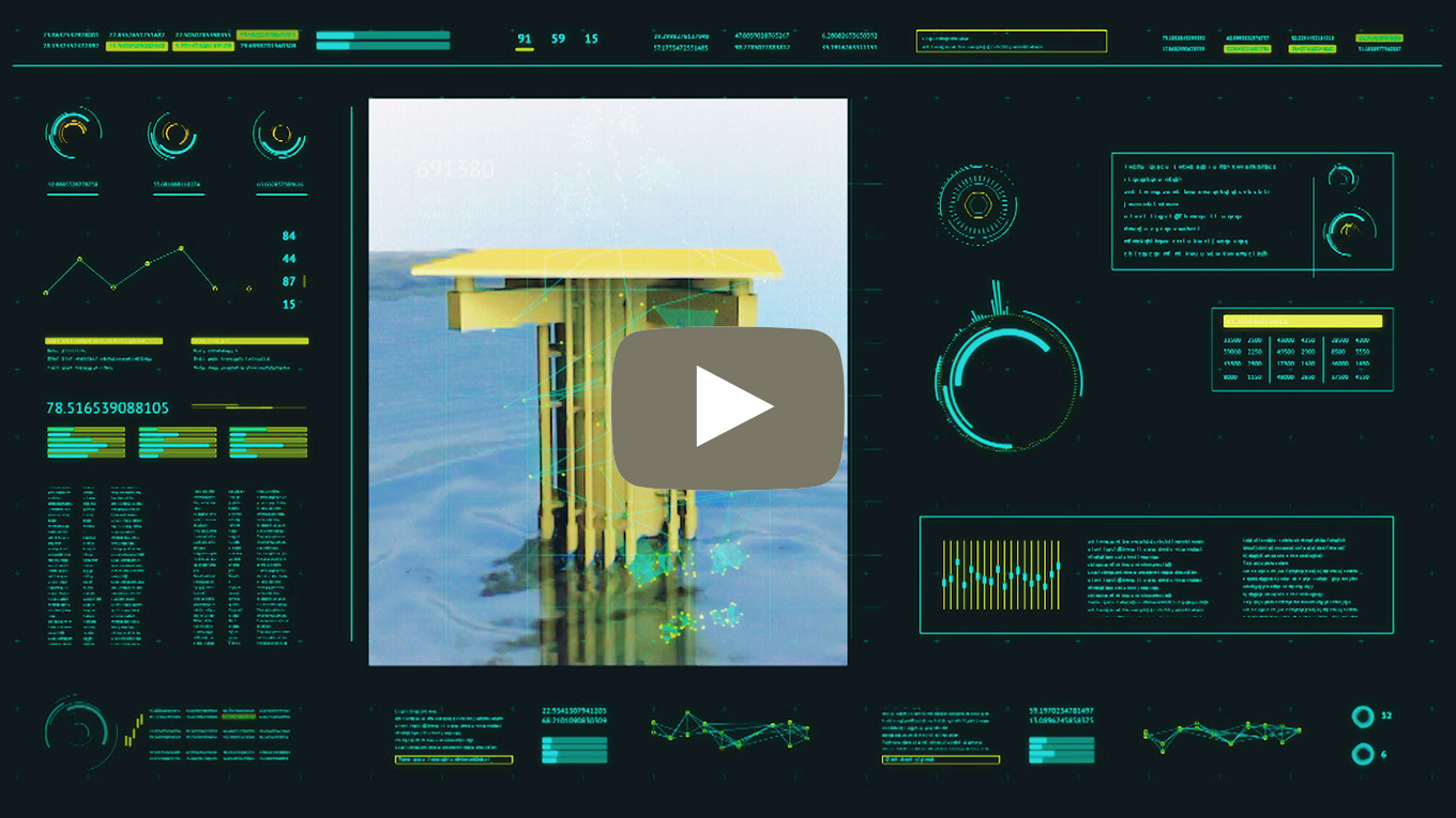 Video thumbnail with wind turbine foundation and digital dashboard screen with monitoring details