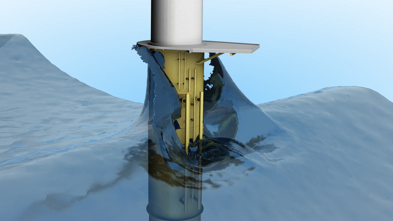 Visualisation of waves and offshore wind turbine foundation