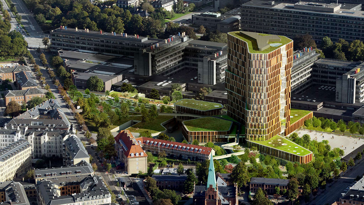 The 42.700 square meter extension of the Panum Complex is to function as a landmark for international healthcare research. Illustration: Architect C. F. Møller/MIR