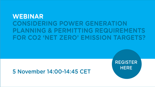Webinar: Considering power generation planning & permitting requirements for CO2 'Net Zero' emission targets?