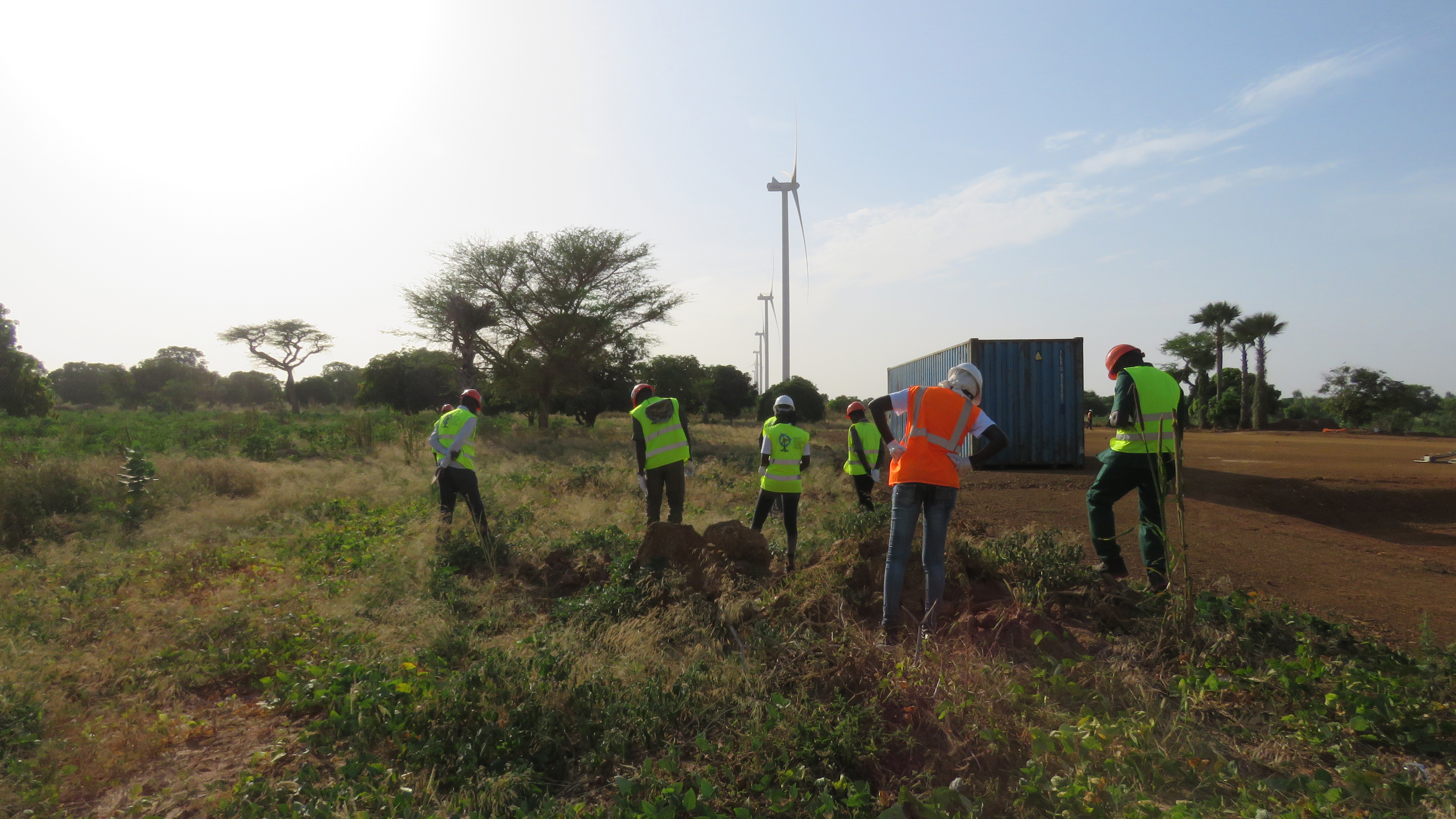 Ramboll staff training local villagers to undertake post-construction surveys