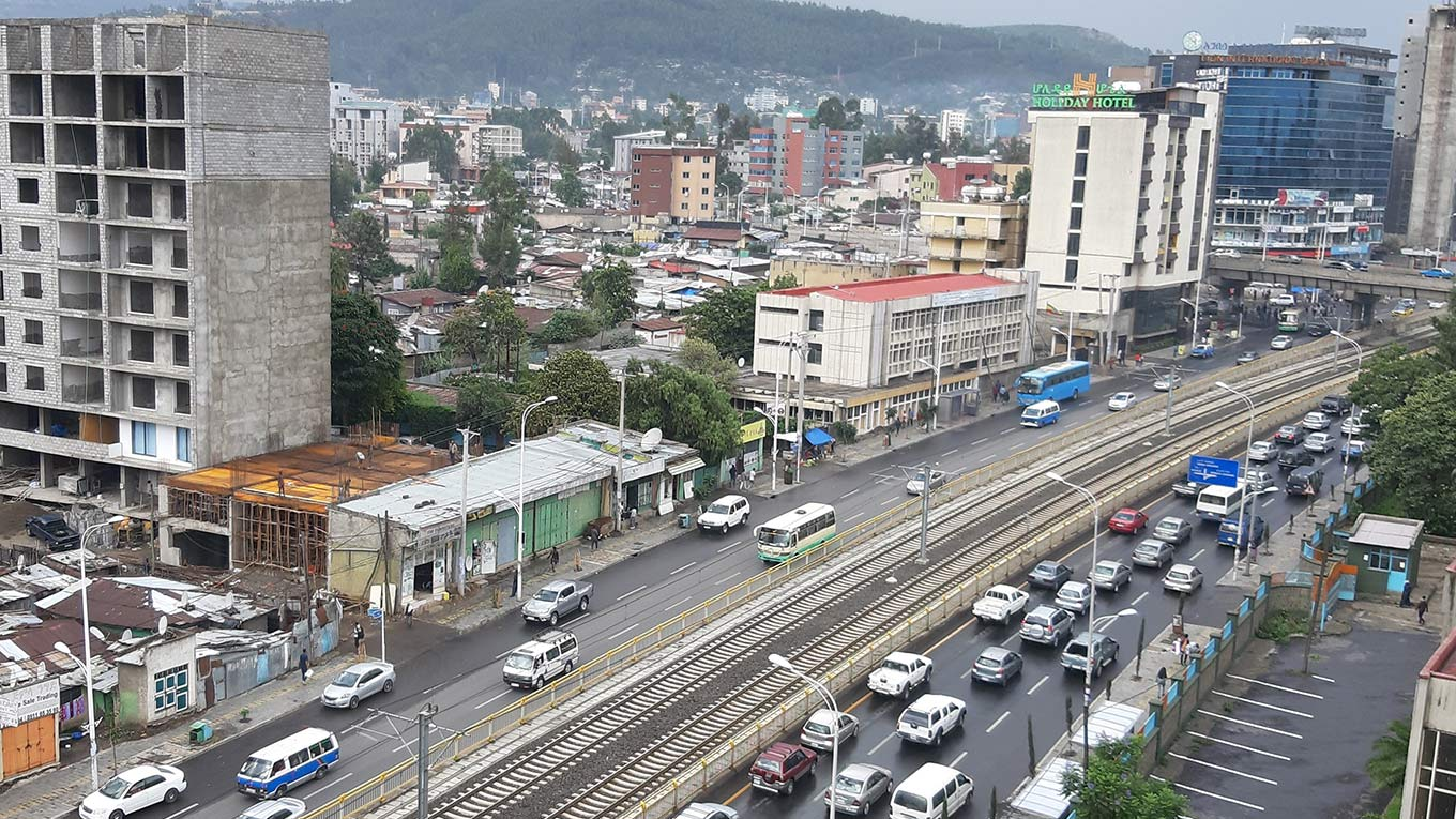 Roads and rail tracks in Addis Ababa