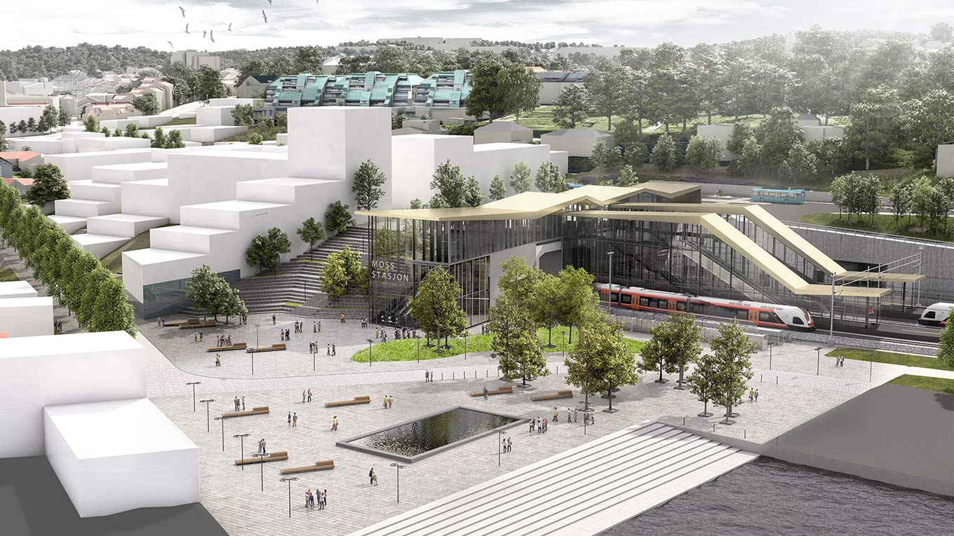 Visualisation: Moss Station and platforms. Copyright: Bane NOR and Rambøll Sweco ANS (joint venture)