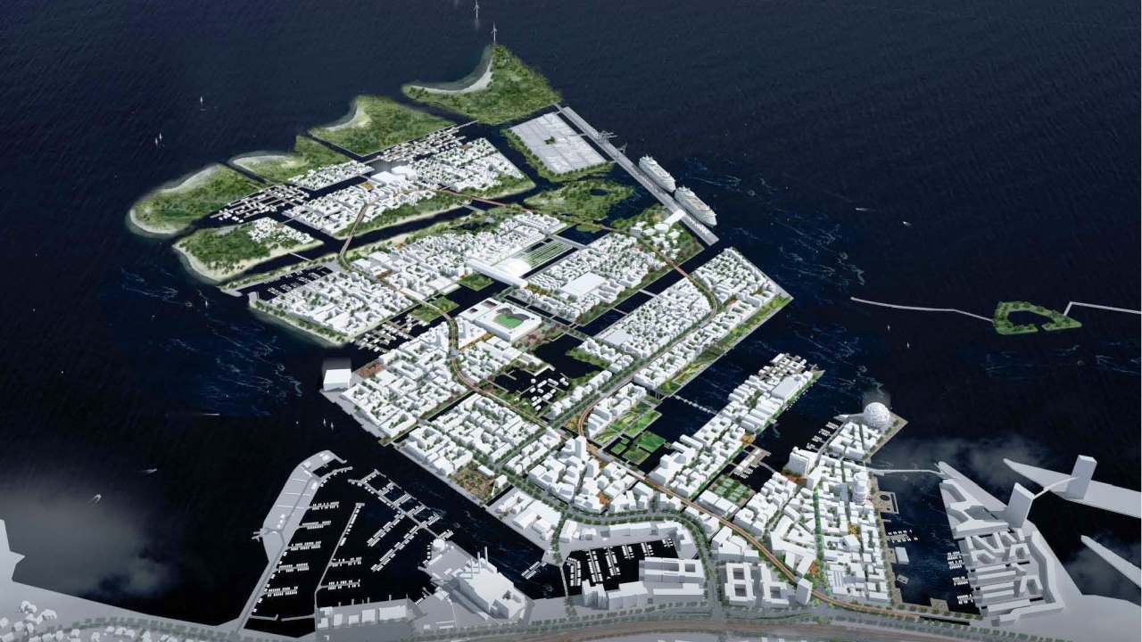 Aerial photo of Nordhavnen, Copenhagen