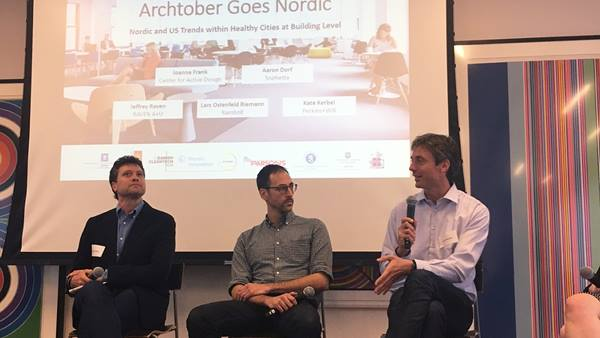 Lars Riemann (right) with other panelists in session on building Healthy Cities at Archtober in New York, 2017