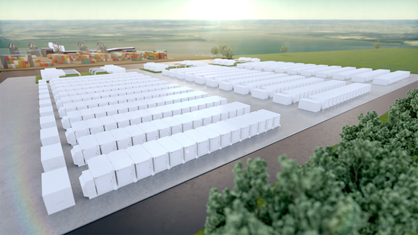 Artists impression of the battery energy storage project at the Gateway Energy Centre site