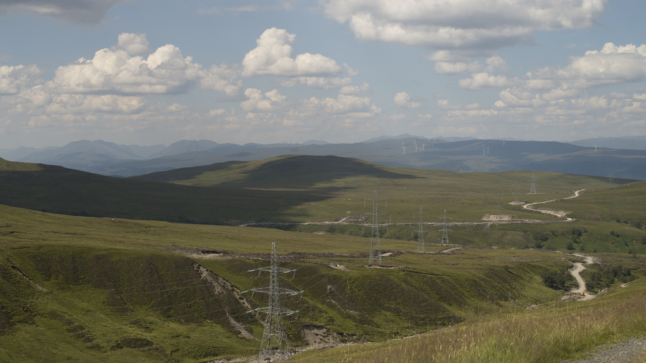 Corrieyairack Pass, General Wades Military Road looking NW towards Millennium Wind Farm. 2014.