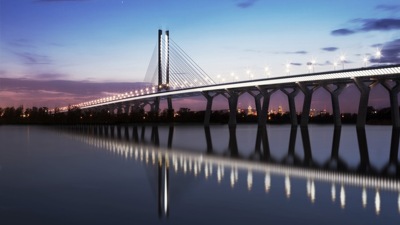 Artists impression of Champlain Bridge, Montreal. © 'Signature on the St Lawrence'