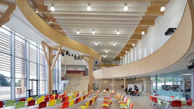 We used CLT and steel hybrid construction to create City Academy, a sustainable new secondary school with an 'Excellent' BREEAM rating.