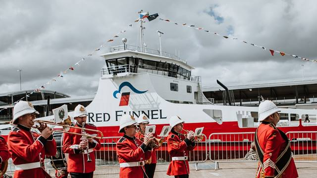 The Great British-themed naming ceremony, which celebrated Red Kestrel being built in the UK, took place in Southampton docks by the Ocean Terminal . © Red Funnel