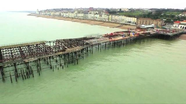 Sussex Air Imaging. Aerial view of Hastings Pier conservation works Feb 2015, with permission from Hastings Pier Charity