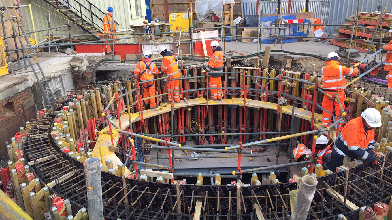Bunhill 2 Energy Centre Construction - Preparing foundations at top of vent shaft. Image courtesy of Transport for London