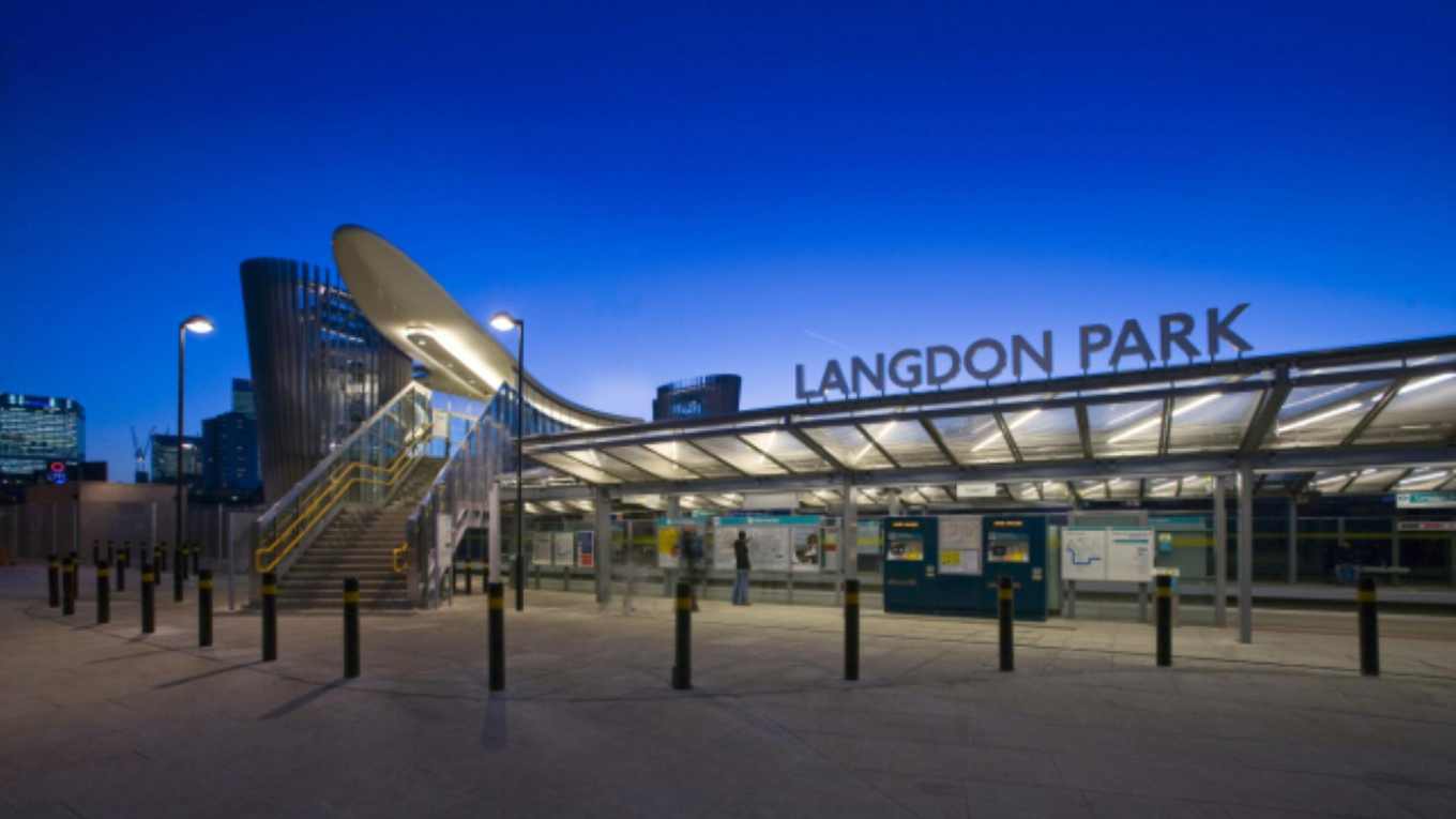 Langdon Park DLR Station forecourt. Costain