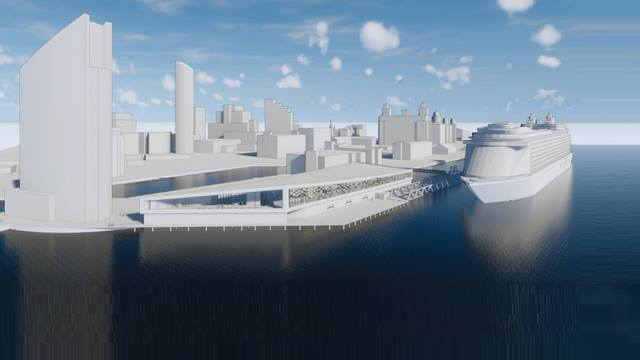 CGI showing what the new £50m Mersey Cruise Terminal could look like subject to planning approval. Image courtesy Liverpool City Council