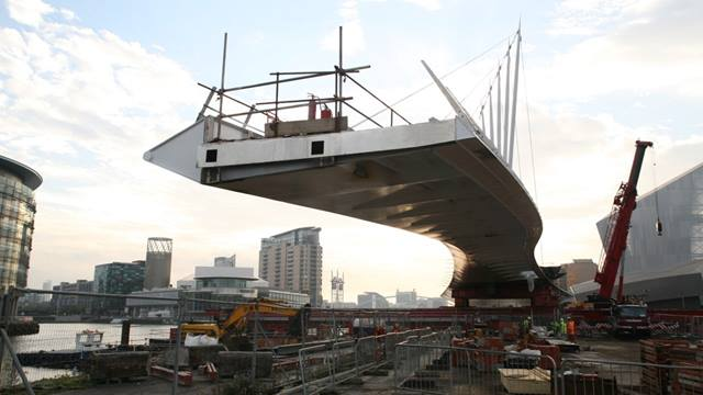 Ramboll. Bridge superstructure prior to slide operation.