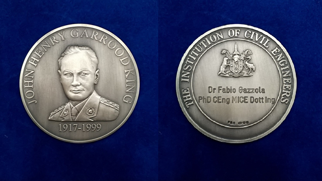 Ramboll. Fabio Gazzola's John Henry Garood King medal. Steve Thompson and Peter Curran also received individual medals from Sir John Armitt for their paper on MediaCityUK Footbridge.