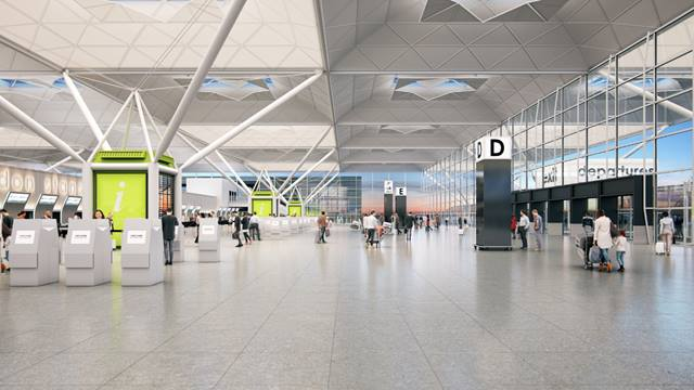 Departures Check-in. Stanstead Airport. Image © Pascall+Watson