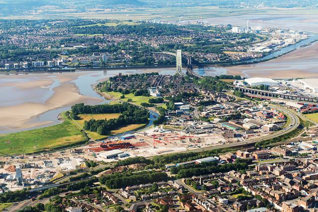 Aerial view of construction site for Mersey Gateway.  © Halton Borough Council. Image courtesy Merseylink