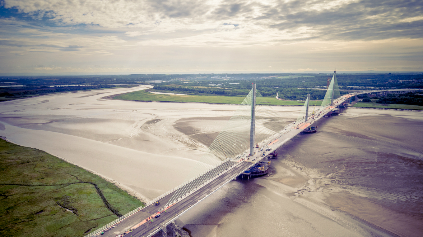 Mersey Gateway stretching across the estuary - looking south. Image - Merseylink