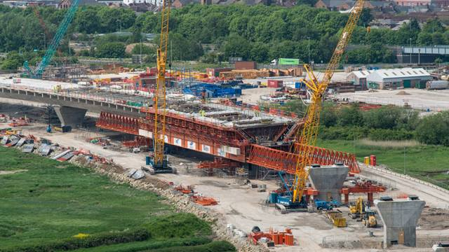 One of the two Movable Scaffolding Systems (MSS), specially designed and built to construct the curved viaducts leading to the Mersey Gateway Bridge, the centrepiece of the iconic project. Photo: David Hunter, courtesy of Merseylink