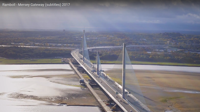 The Mersey Gateway- video opening shot.  Image courtesy of Merseylink