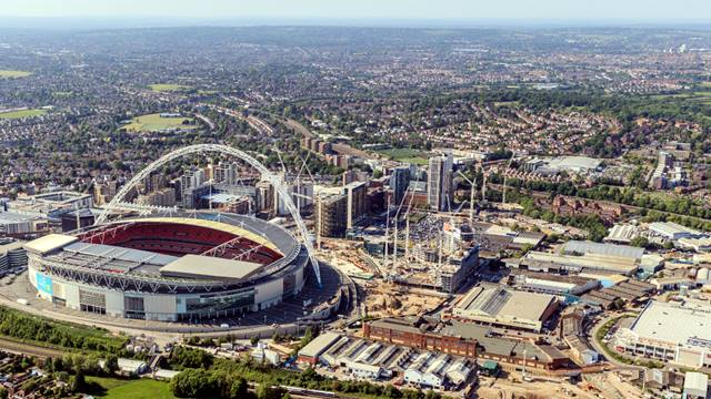 Courtesy of Quintain, Image High Level Photography - Wembley stadium, viewed from the west with Plot E05 immediately to the right