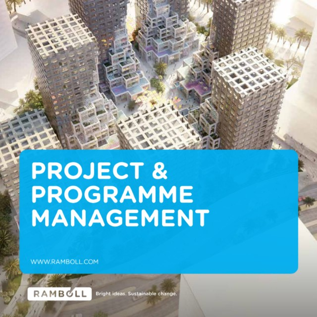 Front cover of Project & Programme Management brochure, Ramboll 2020