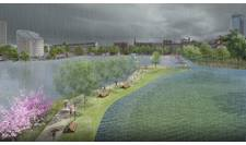 Visualisation of climate adaptation project by the lake of Sankt Jorgen and the Planetarium in Copenhagen, Denmark