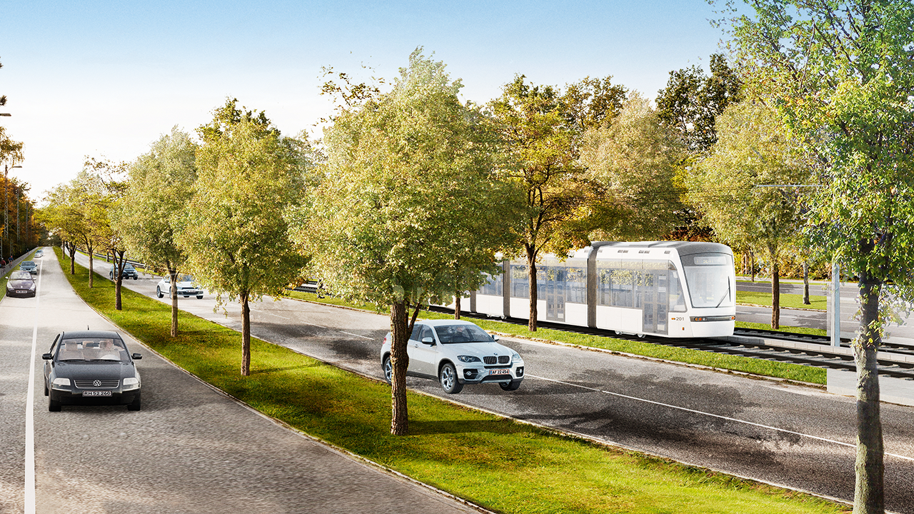 Visualisation of the light rail at Gladsaxe Ringvej