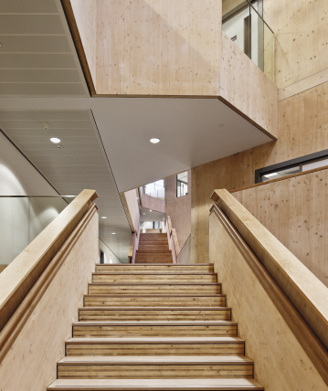 CLT put to use at William Perkin High School, UK. Photo: Kier Buildings