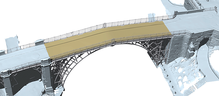The 3D model of the world's oldest iron bridge in Shropshire, UK, shows the transition from 3D laser scanning to a solid finite element model.