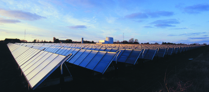 Four of the world's biggest solar heating plants are being built in Denmark