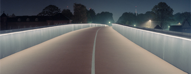 Nordic lighting design on a pedestrian and cycle bridge in Copenhagen, Denmark