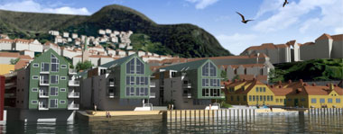 3D visualisation of buildings by a harbour