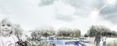 Denmark's biggest climate adaption project in the city of Kokkedal. Illustration: Schønherr/Ramboll/BIG