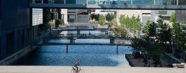 Buildings and canals by Bella Center in Ørestad, Copenhagen, Denmark