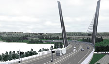The Farris bridge on road E18 at Larvik, Norway. Ramboll won the Norwegian Road Authorities' design competition for the bridge together with L2 Architects in Oslo.