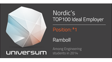 Universum badge showing that Ramboll is the Nordics' no.1 employer among engineering students